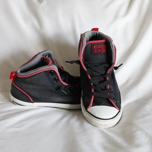 Converse Black Red High Tops Shoes Jr 6 / Wom 7.5